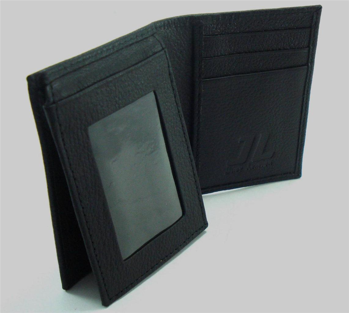 Mens Genuine Leather Wallet Trifold Bifold Coin Pocket ...