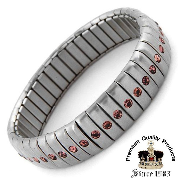 Ladies Stainless Steel Bracelet W/genuine Crystal 13mm