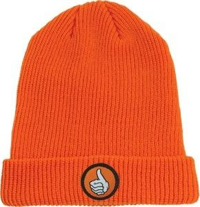 BRO-STYLE-THUMB-PATCH-CUFF-BEANIE-HAT-ORANGE-skateboard-street-wear-NEW