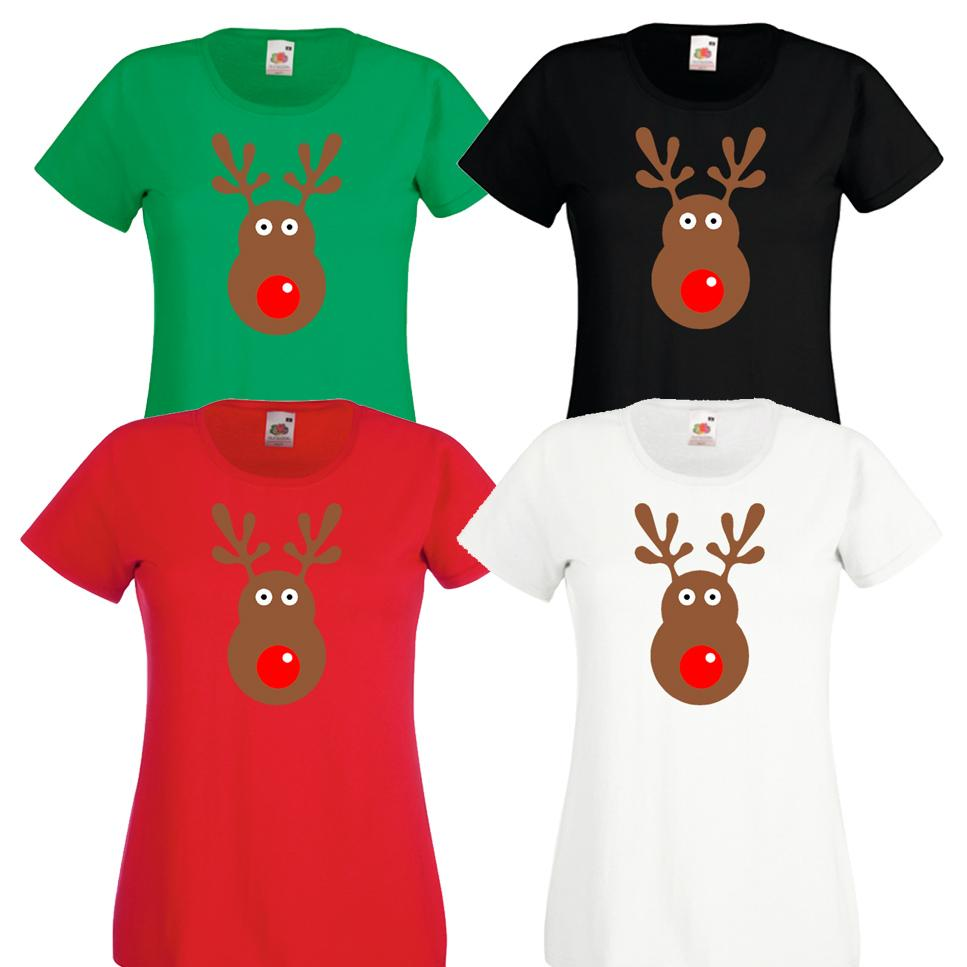 Rudolph reindeer face christmas retro rudolf xmas ladies