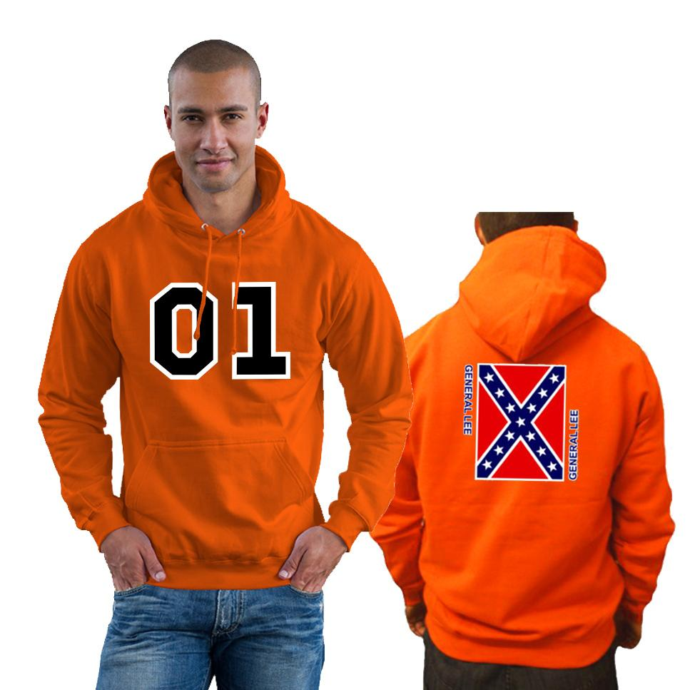 01 GENERAL LEE HOODY DUKES OF HAZZARD COUNTY CONFEDERATE ORANGE HOODIE S-2XL