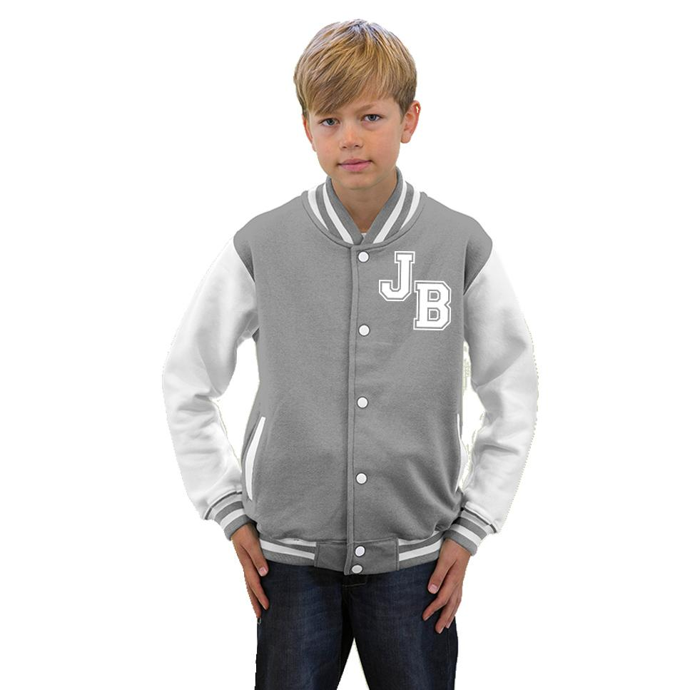 KIDS VARSITY COLLEGE BOYS BASEBALL JACKET - PLAIN or PERSONAL