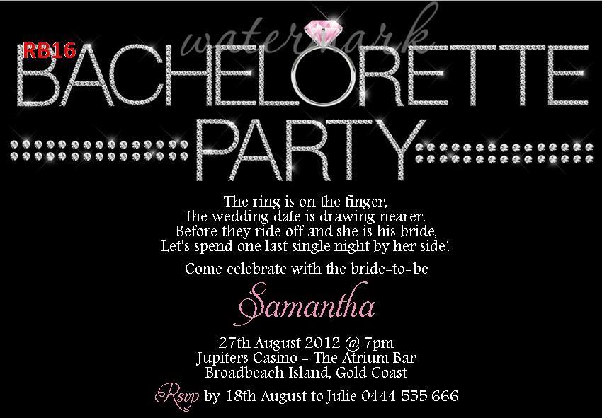 $1ea Ring Bling Hens Night Bachelorette Party Invites ...
