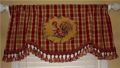 Scalloped Valance Curtain French Country Rooster Toile Red