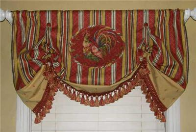 Custom Balloon Valance Waverly Fabric Toile Stripe Rooster