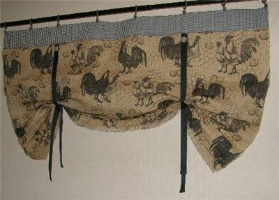 French Country Chicken Rooster Tie Up Valance Natural