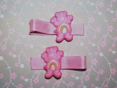 Care Bears CHEER BEAR on Baby Pink Grosgrain Hair Clips