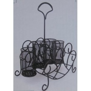 China serveware picnic caddy carrier silverware holder wrought iron - Wrought iron flatware ...