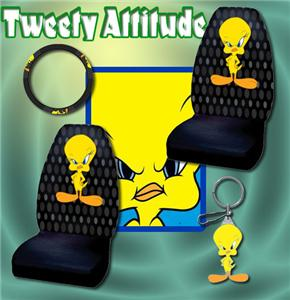 4pc tweety bird car seat covers steering wheel keychain ebay. Black Bedroom Furniture Sets. Home Design Ideas