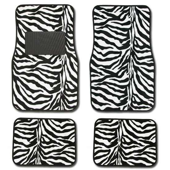New Zebra Print Car Mats Seat Steering Covers Set No Shipping Cost ...