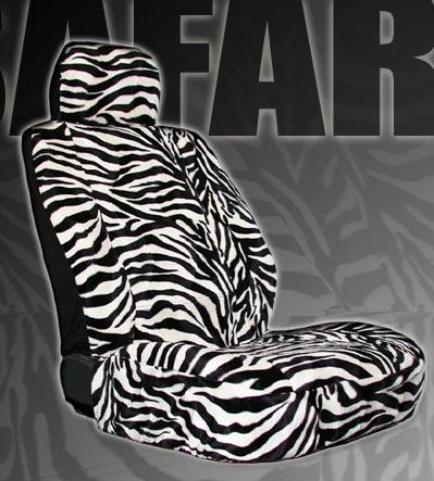 15pc Safari Zebra Car Seat Covers Steering Wheel Mats