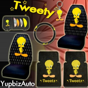 tweety bird car seat covers mats steering wheel cover. Black Bedroom Furniture Sets. Home Design Ideas