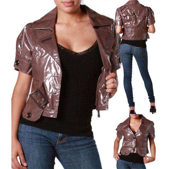 IL-13-S-M-L-XL-Short-Sleeve-Collared-Buckle-Buttons-Crop-Rain-Jacket-Brown
