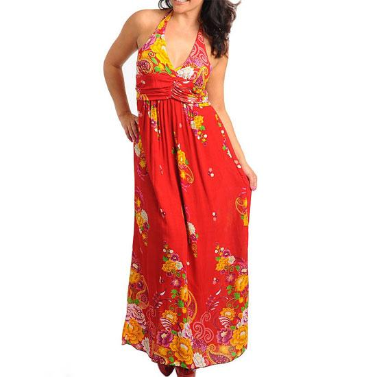 PD8 -L XL XXL 2XL Silky Halter Padded Chest Floral Maxi Dress Blue /Red /Yellow