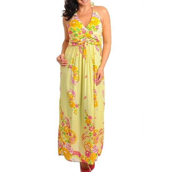 D8 -L XL XXL 2XL Silky Halter Padded Chest Floral Maxi Dress Blue /Red /Yellow