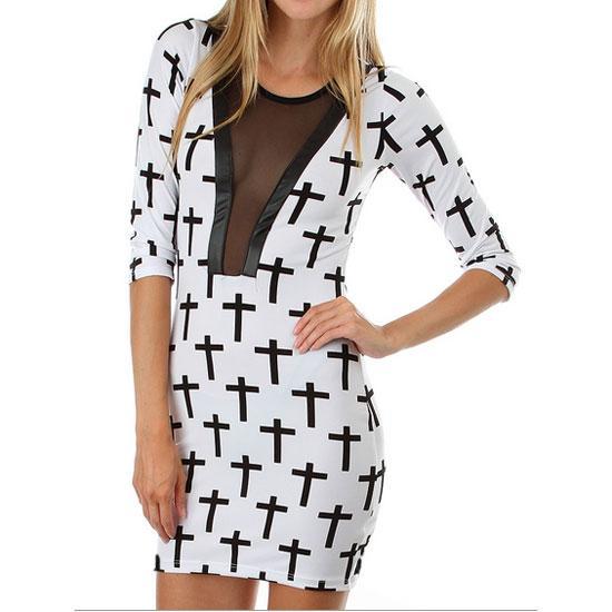 RD 7- S M L Mesh Neck Faux Leather Trim Stripe Checkered Cross Dress Black White