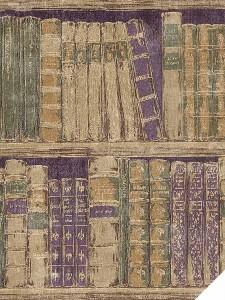 Wallpaper-Faux-Book-Shelves-Green-Tan-Purple-Gold-Books
