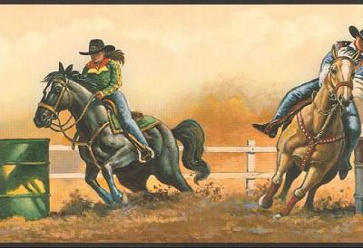 wallpaper border western cowboy rodeo barrel racing ebay