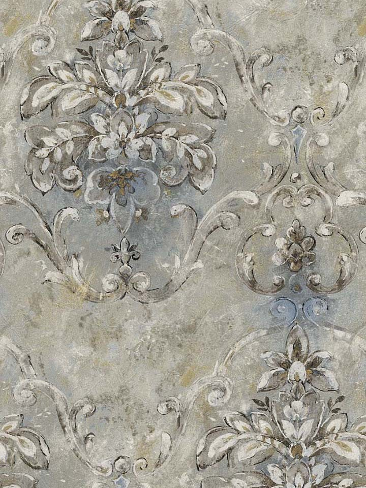 Wallpaper french blue old world damask victorian faux for Old french wallpaper