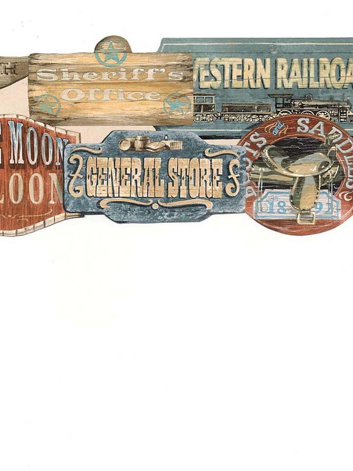 wallpaper border old wild west western signs die cut ebay