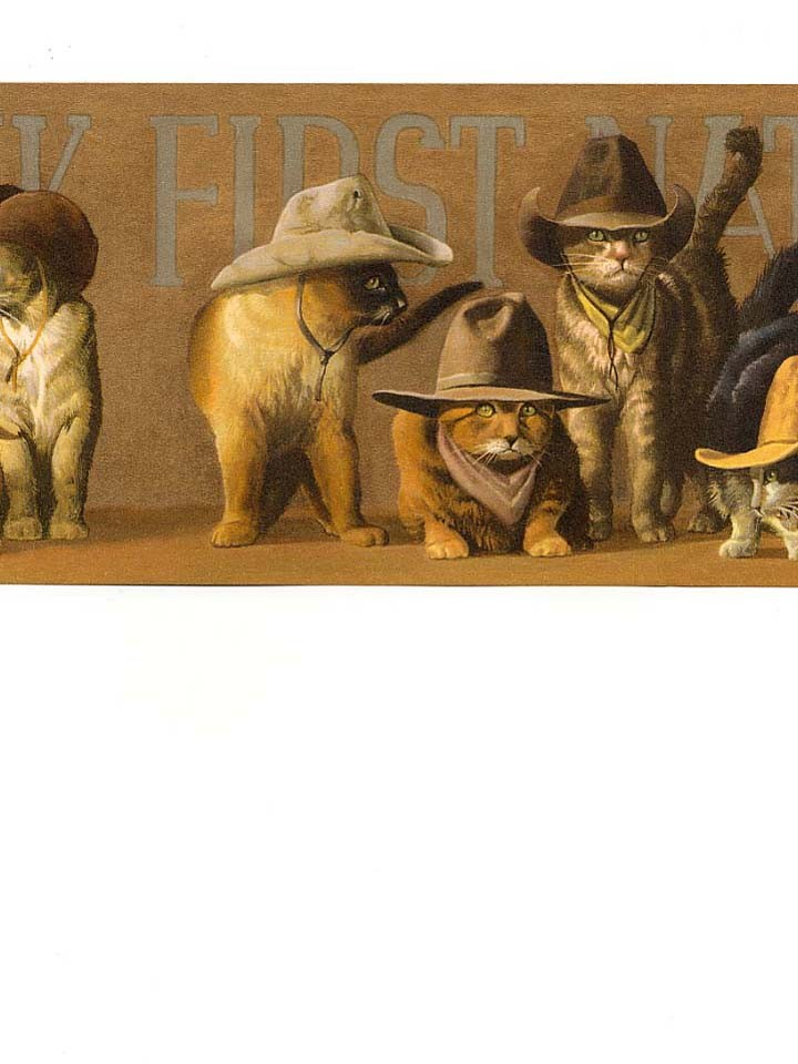 wallpaper border western cowboy cats kitties tan hats