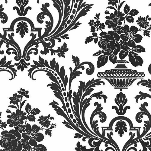 Wallpaper Designer Black and White Classic Traditional Damask