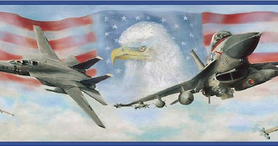 Wallpaper Border Air Force Jet Fighters American Flag & Eagle with