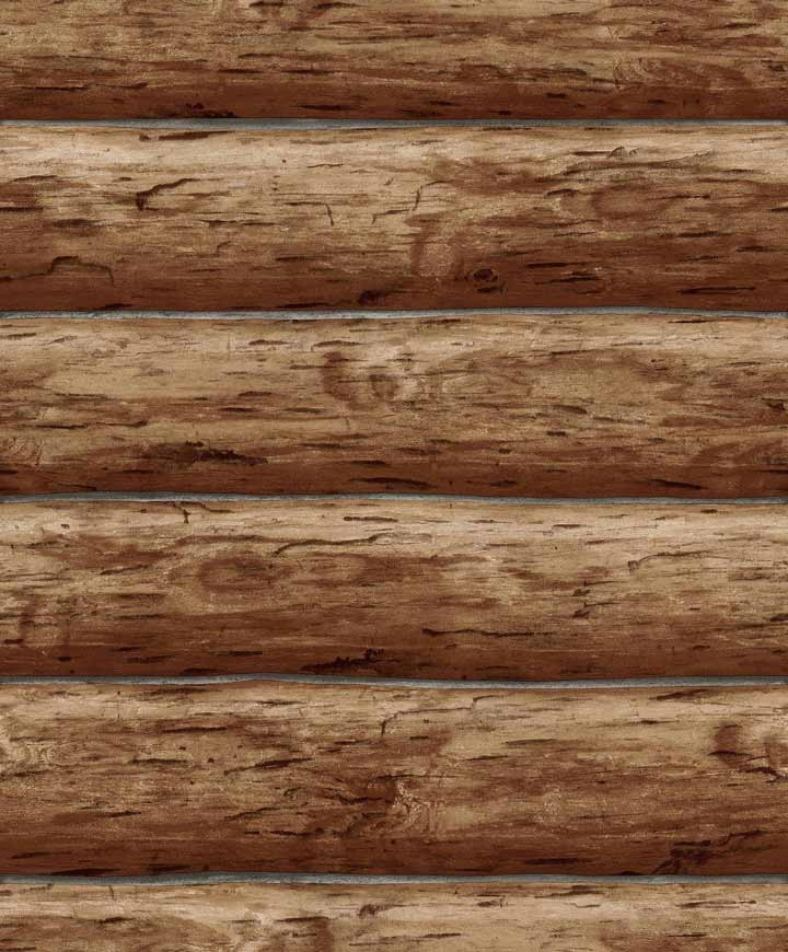 Wallpaper designer rustic log cabin brown wood wall ebay