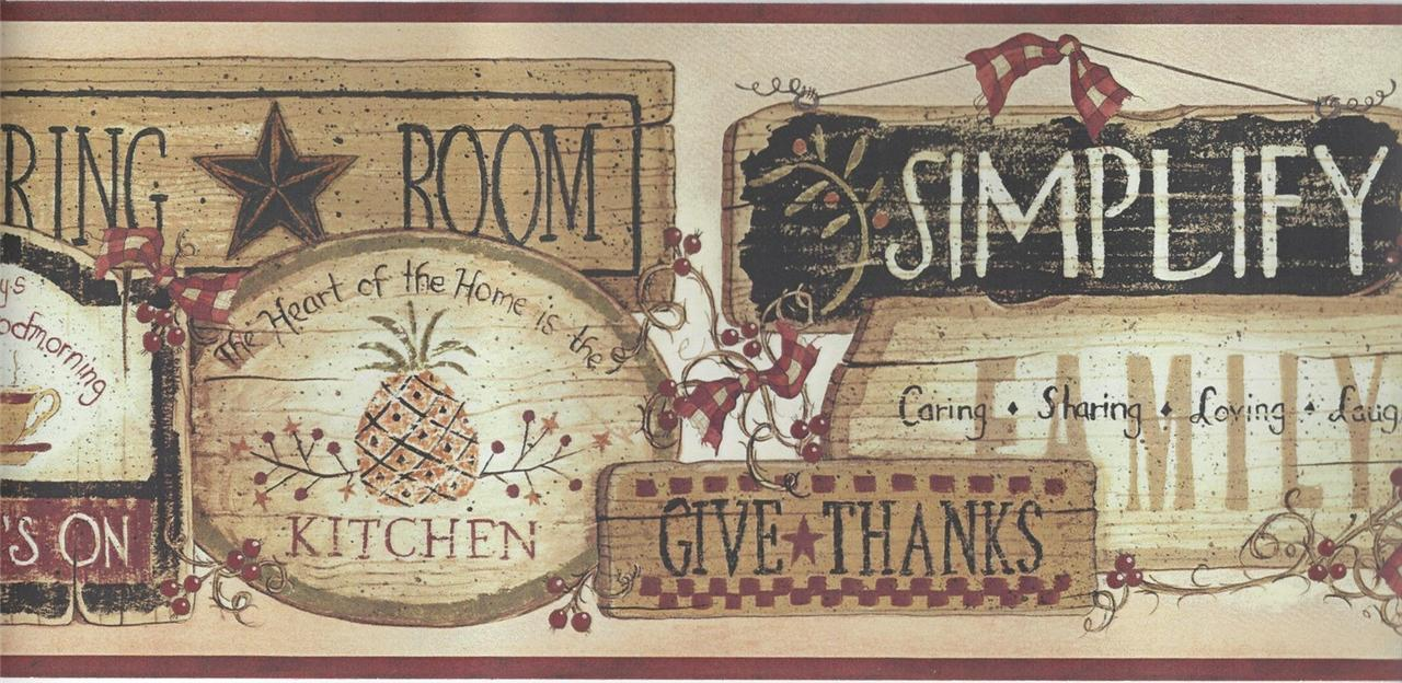Wallpaper Border Country Wood Plaques For Country Kitcken