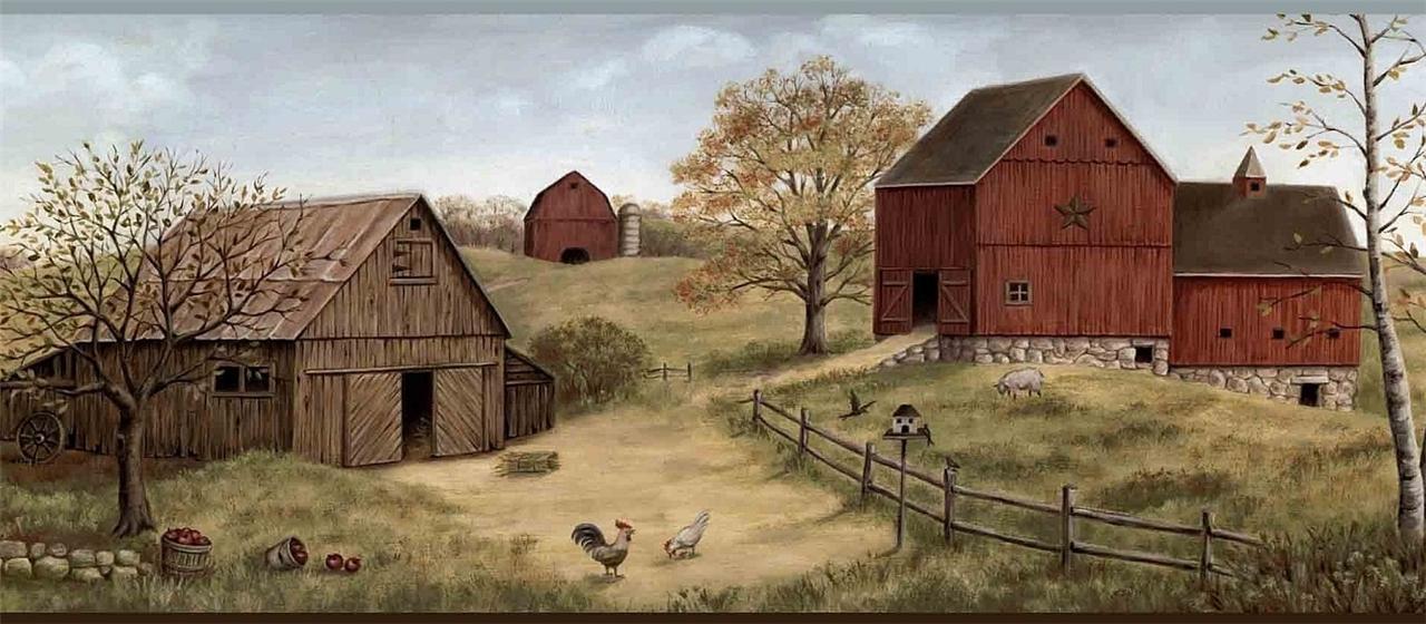 wallpaper border farmstead red barns farm country