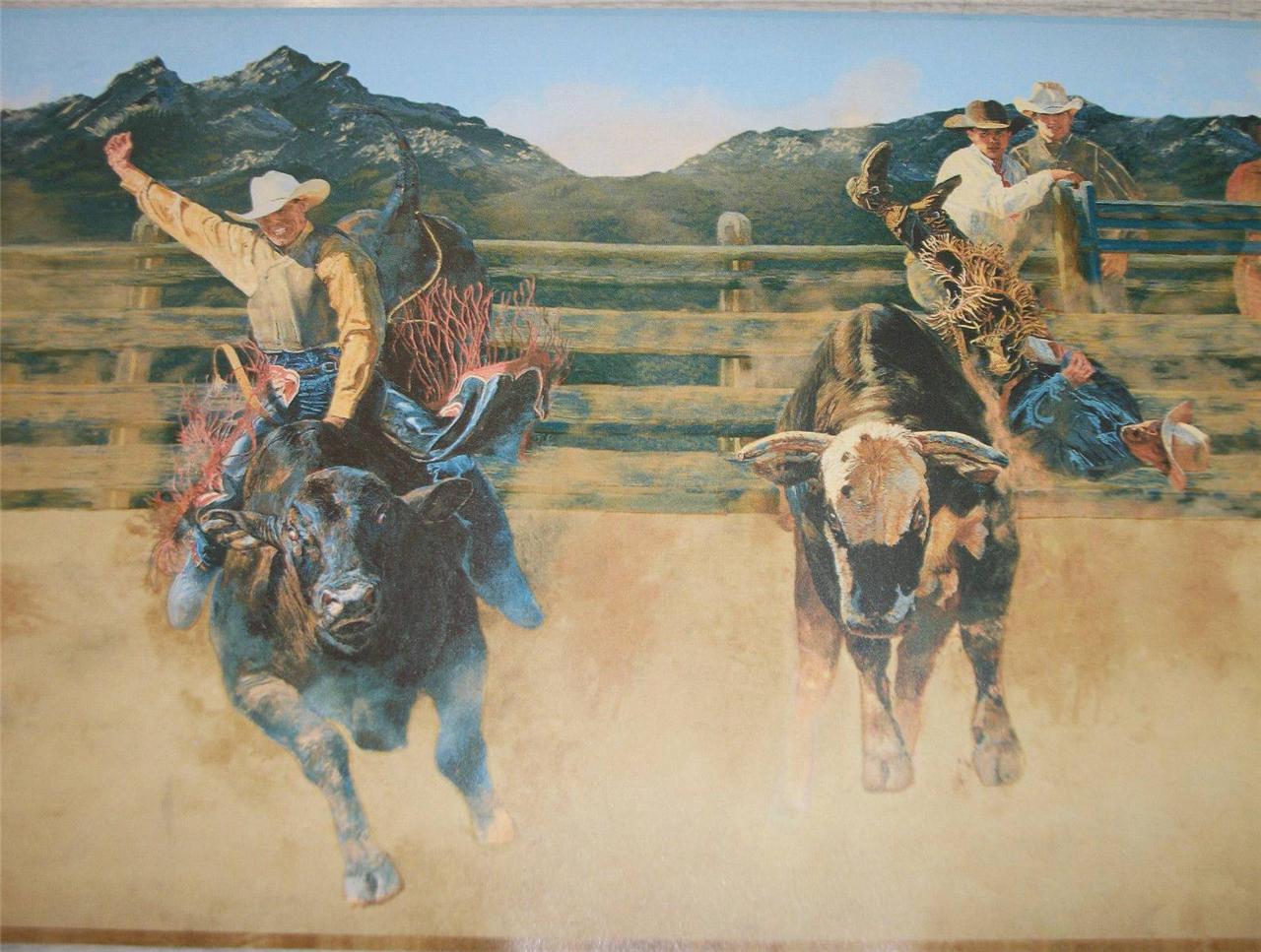 wallpaper border western cowboys bull riding bucking