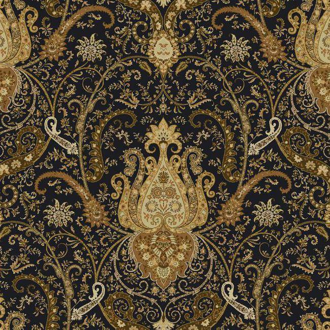 Wallpaper Waverly Classics Byzance Black Metallic Gold