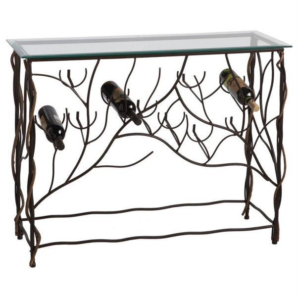 Console Wine Bar Table Iron Metal Bottle Rack Holder Ebay