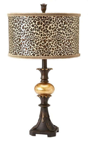 Table Accent Lamp Gold Leopard Animal Print Drum Shade Ebay