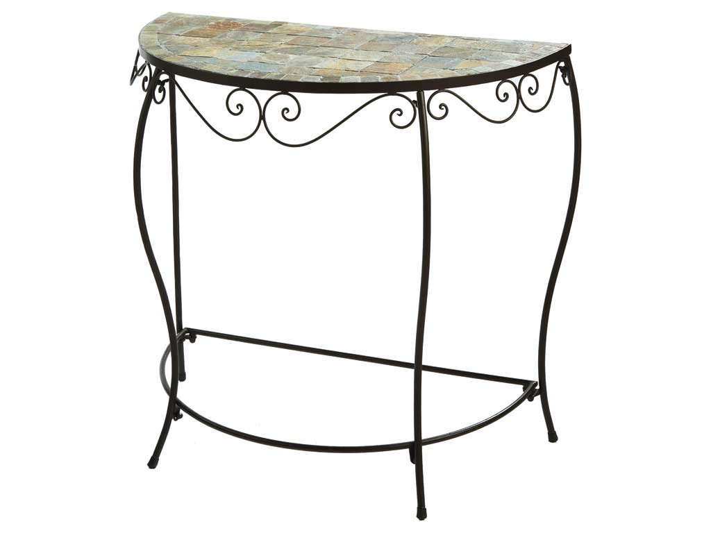 console accent table small half round mosaic tile iron ebay. Black Bedroom Furniture Sets. Home Design Ideas