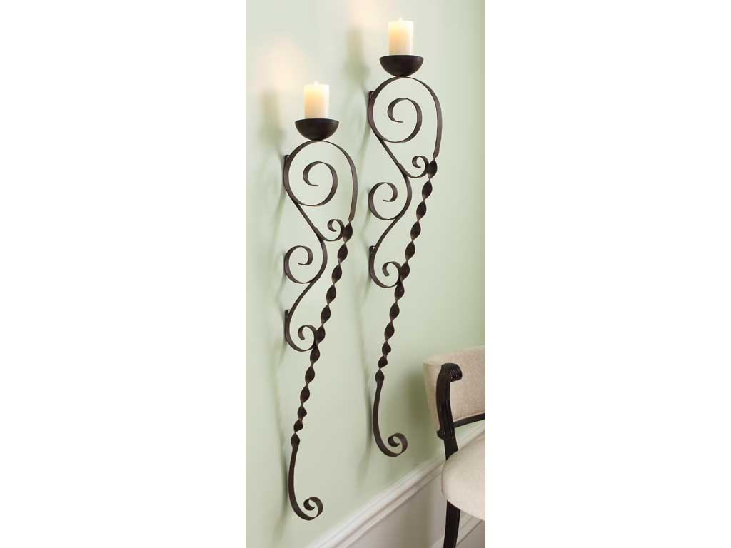 Black Iron Wall Sconces For Candles : Candle Wall Sconce Black Wrought Iron Pillar Pair Long eBay