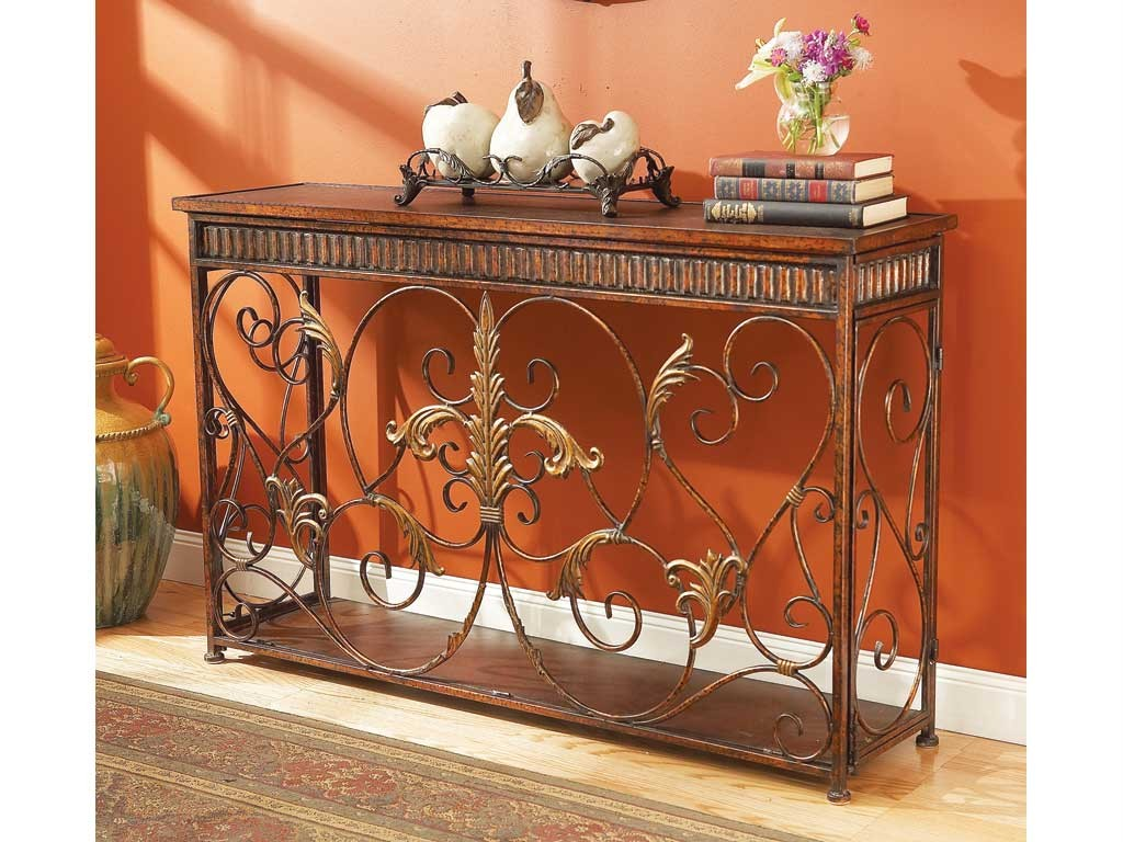 Rustic Iron Console Table ~ Console table scroll work rustic metal iron leather top ebay