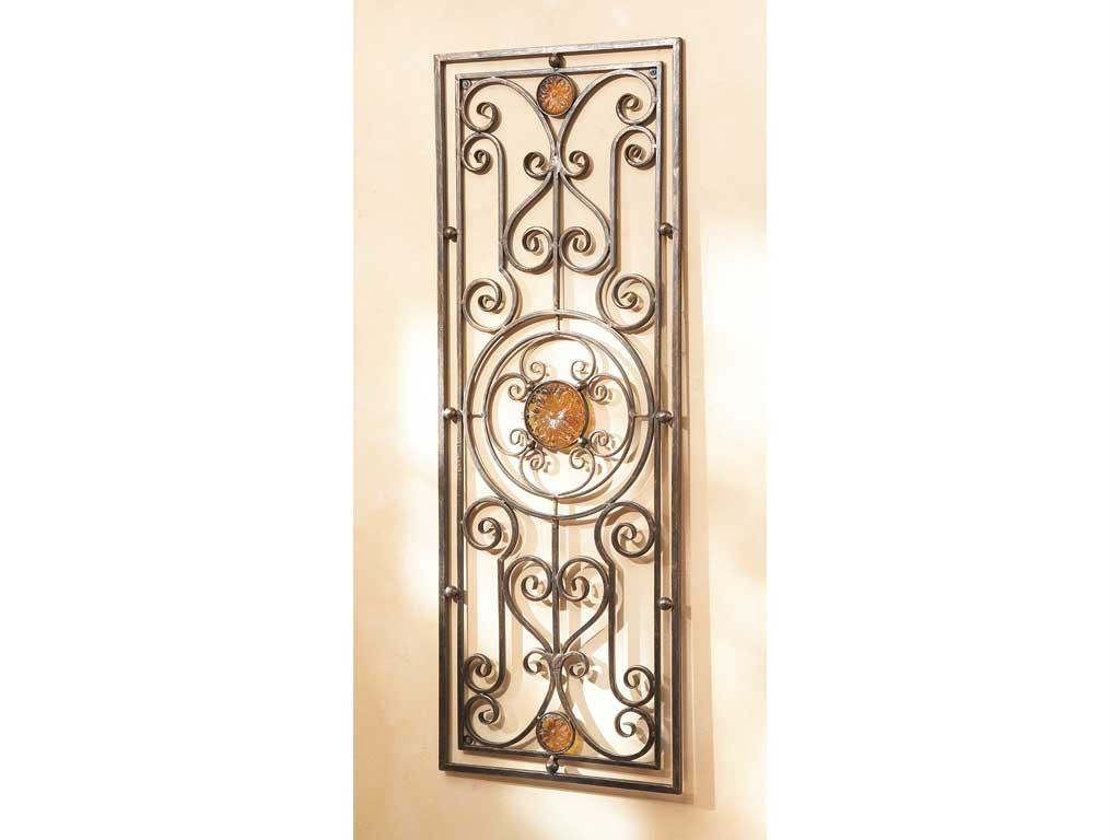 Wall grill decorative metal wrought iron medallion for Iron wall decor