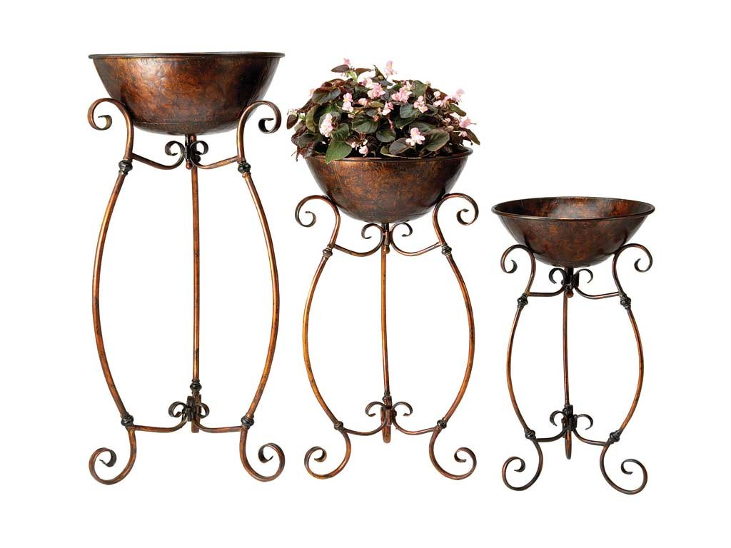 3 Plant Stands Pots Iron Metal Indoor Outdoor Tubs Ebay