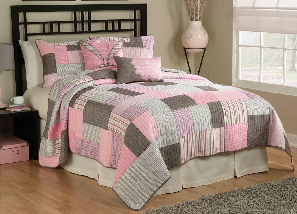 Details about pink brown white tyler plaid quilt comforter bedding