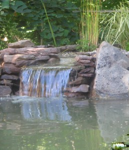 Crystal pond waterfall filter spillway biofilter koi fish for Pond waterfall spillway ideas