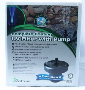 Floating fountain uv filter w pump led aerate algae water for Combined pond pump and uv filter