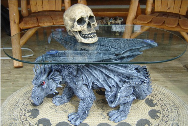 Dragon Gothic Glass Coffee Table End Dining Gargoyle