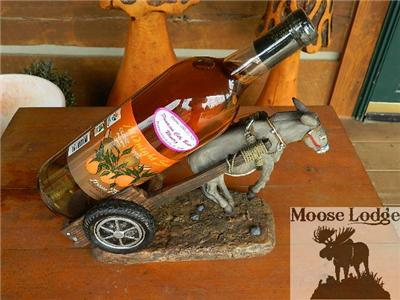Details about MULE DONKEY HORSE PULLING WAGON WINE BOTTLE HOLDER FUNNY