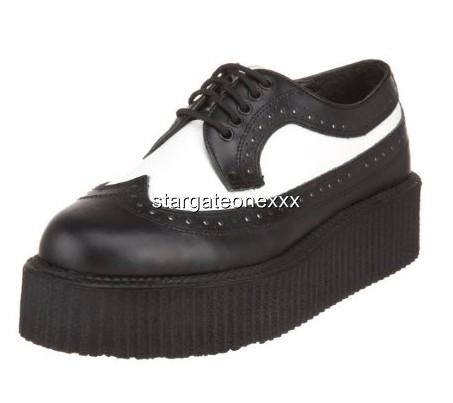 New-Creepers-408-BLACK-WHITE-LEATHER-Wingtip-Retro-Spatz-Rock-Shoes-UK-3-to-12