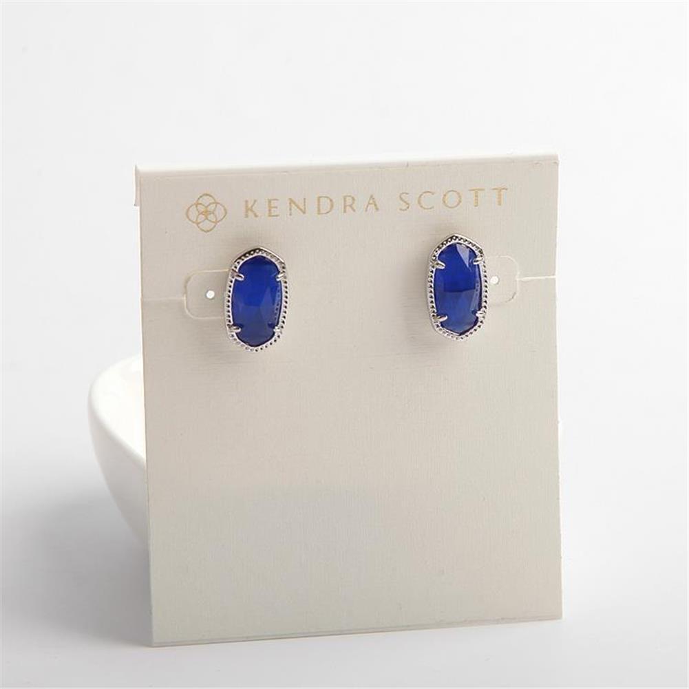 Kendra Scott Ellie Silver Stud Earrings in Cobalt Blue Cats Eye w Dust Bag