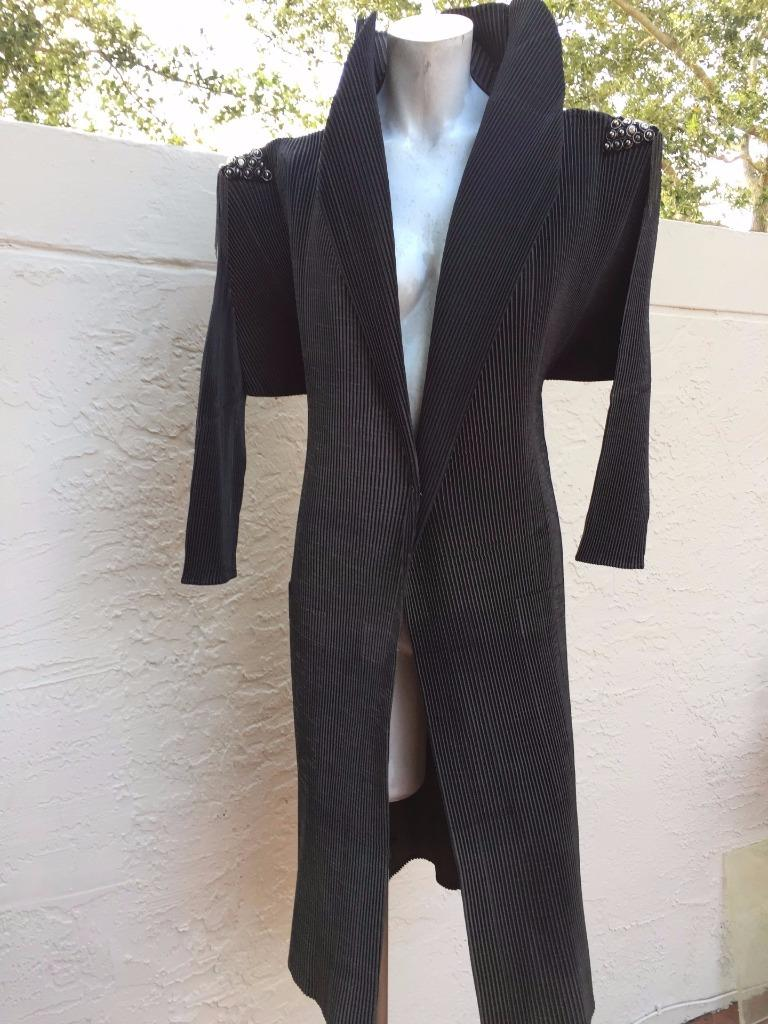 SONIA TRINKL SEMPLICE + UTILE FAB MICRO PLEATED EMBELLISHED COAT NWOT  1295 OZ