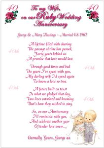 RUBY WEDDING ANNIVERSARY Personalised Poem 40th Card