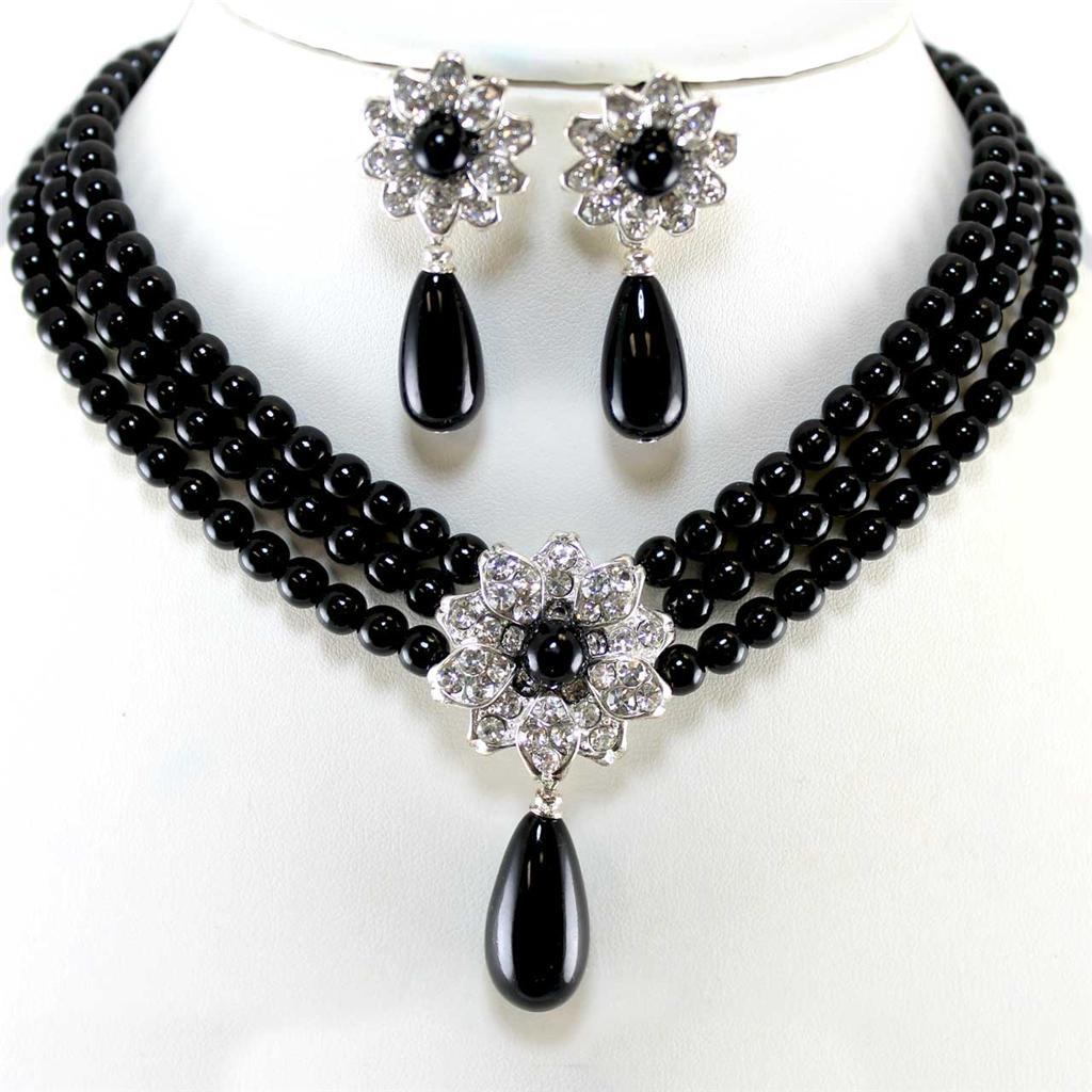 elegant black pearl crystal silver wedding evening