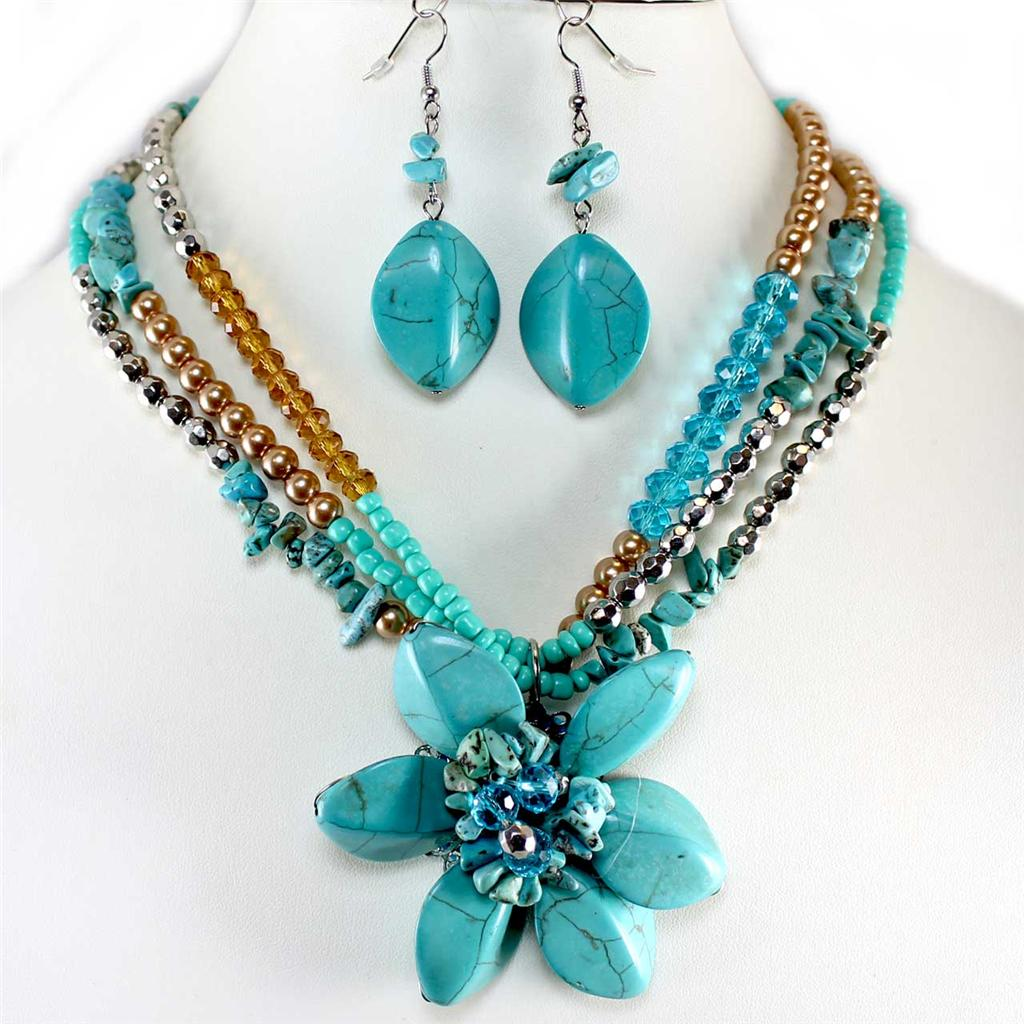 Chunky turquoise flower stone shell pearl bead necklace for Turquoise colored fashion jewelry